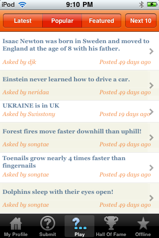 Screenshot iBluff Trivia Plus: True Or False Quiz