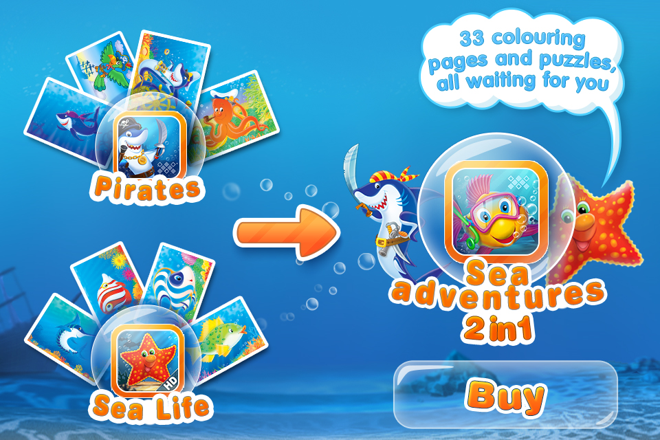 Screenshot Puzzles 'N Coloring – Sea Life / LITE [tags:jigsaw puzzles,colouring pages,games for kids]